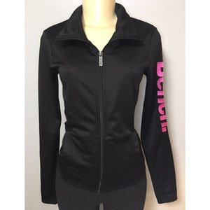 Bench Womens Full Zip Jacket Black with Pink Logo